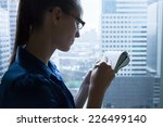 woman writing a letter  notes. | Shutterstock . vector #226499140