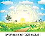 Sunny Meadow Landscape Of...