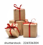 gift box wrapped in recycled... | Shutterstock . vector #226536304