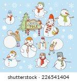 snowman doodle set. vector...   Shutterstock .eps vector #226541404