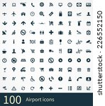 100 airport icons. flat icons | Shutterstock .eps vector #226552150