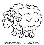 Contour Cartoon Sheep On White...