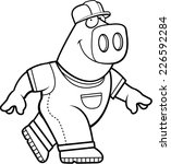 a happy cartoon builder pig... | Shutterstock .eps vector #226592284