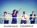 business woman winning race... | Shutterstock . vector #226600414