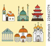 cathedrals and churches icon set | Shutterstock .eps vector #226612774
