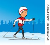 hand drawn cross country skier. ... | Shutterstock .eps vector #226619590