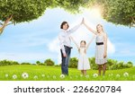 happy family of three dreaming... | Shutterstock . vector #226620784