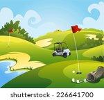 golf course beautiful landscape ... | Shutterstock .eps vector #226641700