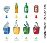 four recycling bins... | Shutterstock .eps vector #226654528