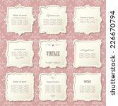 vintage frame set on damask... | Shutterstock .eps vector #226670794