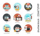 set of flat and colorful...   Shutterstock .eps vector #226671949
