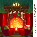 fireplace. christmas card ... | Shutterstock .eps vector #226684378