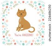 Cute Little Cat Vector...
