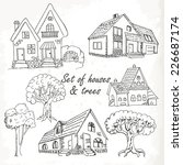 set of houses and trees. vector ... | Shutterstock .eps vector #226687174