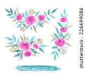 vector flowers set. colorful... | Shutterstock .eps vector #226694086