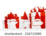 white gift box with red ribbon  ... | Shutterstock . vector #226712080