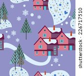 winter background with houses | Shutterstock .eps vector #226717510