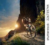cyclist riding mountain bike on ... | Shutterstock . vector #226735744