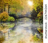 autumn   old bridge in autumn ... | Shutterstock . vector #226744264