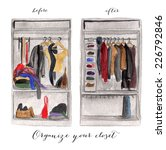 messy and clean closet... | Shutterstock . vector #226792846
