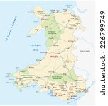 wales road and national park map | Shutterstock .eps vector #226799749
