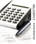 calculator and pen on a... | Shutterstock . vector #226805788