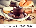 cup coffee with beans and... | Shutterstock . vector #226818844