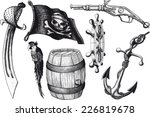 set pirate attributes. armament ... | Shutterstock .eps vector #226819678