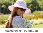 the girl in a hat with a bunch... | Shutterstock . vector #22686250