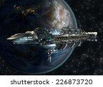 Постер, плакат: Spaceship fleet leaving Earth