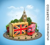 old suitcase with british flag  ... | Shutterstock . vector #226893010