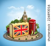 old suitcase with british flag  ... | Shutterstock . vector #226893016