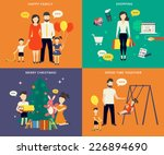 family with children kids... | Shutterstock .eps vector #226894690