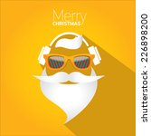 Merry Christmas hipster poster for party or greeting card on orange background. Vector illustration