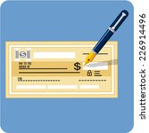 vector check and pen  | Shutterstock .eps vector #226914496