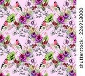 wild exotic birds on flowers...   Shutterstock .eps vector #226918000
