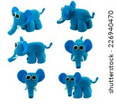 Set Of Cute Blue Elephant Made...