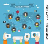 social network concept with... | Shutterstock .eps vector #226956559