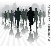 running people in the park.... | Shutterstock .eps vector #226984180
