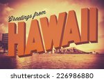 retro style vintage postcard... | Shutterstock . vector #226986880