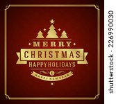christmas retro typography and... | Shutterstock .eps vector #226990030
