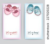 set of baby shower cards.  | Shutterstock .eps vector #227020228