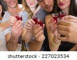 happy friends having a drink... | Shutterstock . vector #227023534