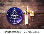 christmas table place setting...   Shutterstock . vector #227032318