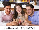 stylish friends having a drink... | Shutterstock . vector #227051278