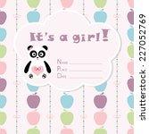 baby girl arrival card. baby... | Shutterstock .eps vector #227052769