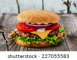 Hamburger With Grilled Meat An...
