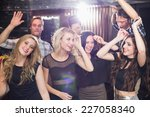 stylish friends dancing and... | Shutterstock . vector #227058340