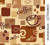 seamless coffee background with ... | Shutterstock .eps vector #227063803