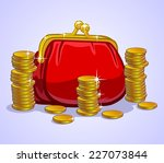 wallet and coins | Shutterstock .eps vector #227073844